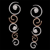 Pendientes. Oro blanco y oro rosa 18K