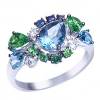Sortija. Oro blanco 18K.